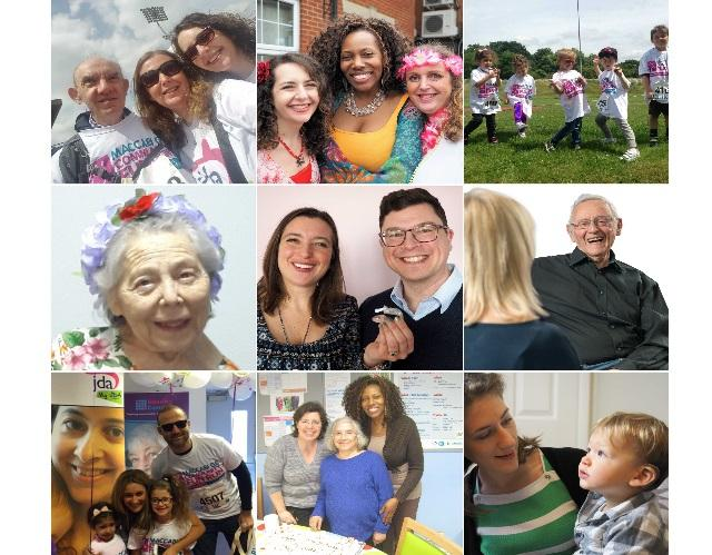 Collage of JDA pictures with staff, clients and volunteers