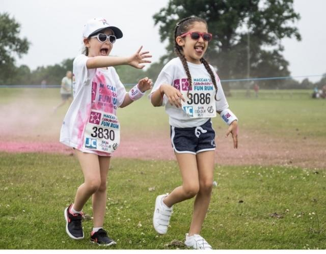 Sloane and Libby running the 2019 Maccabi GB Community Fun Run for JDA